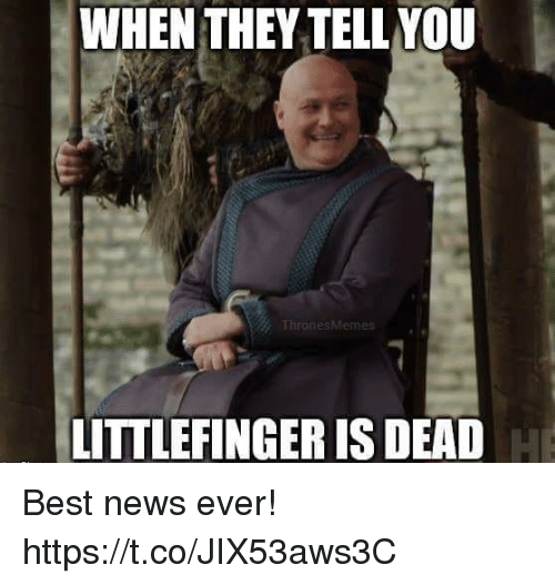 Memes, News, and Best: WHEN THEY TELL YOU  LITTLEFINGER IS DEAD Best news ever! https://t.co/JIX53aws3C