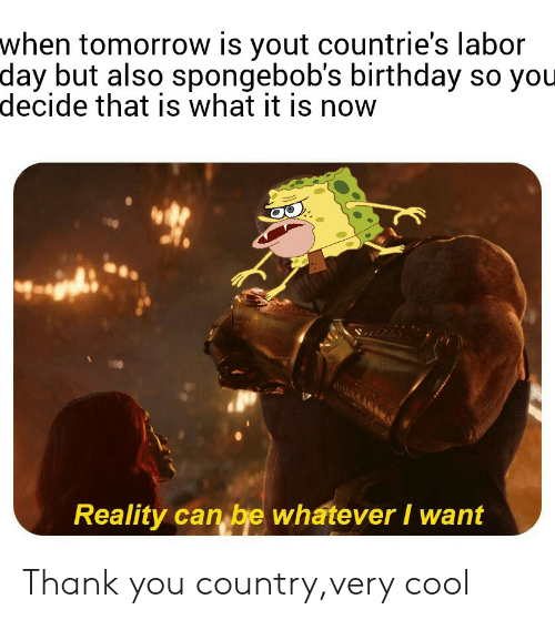 Birthday, Reddit, and Thank You: when tomorrow is yout countrie's labor  day but also spongebob's birthday so you  decide that is what it is now  Reality can be whatever I want Thank you country,very cool