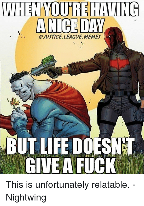 Life, Memes, and Fuck: WHEN TOUTREHAVING  ANCE DAY  OJUSTICELLEAGUE, MEMES  BUT LIFE DOESNT  GIVE A FUCK This is unfortunately relatable. -Nightwing