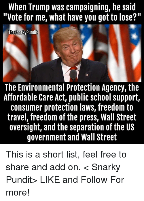 """Memes, 🤖, and Add: When Trump was campaigning, he said  """"Vote for me, what have you got to lose?  Thesnarky Pundit  The Environmental Protection Agency, the  Affordable Care Act, public school support,  consumer protection laws, freedom to  travel, freedom of the press, Wall Street  oversight, and the separation of the US  government and Wall Street This is a short list, feel free to share and add on.  < Snarky Pundit> LIKE and Follow For more!"""
