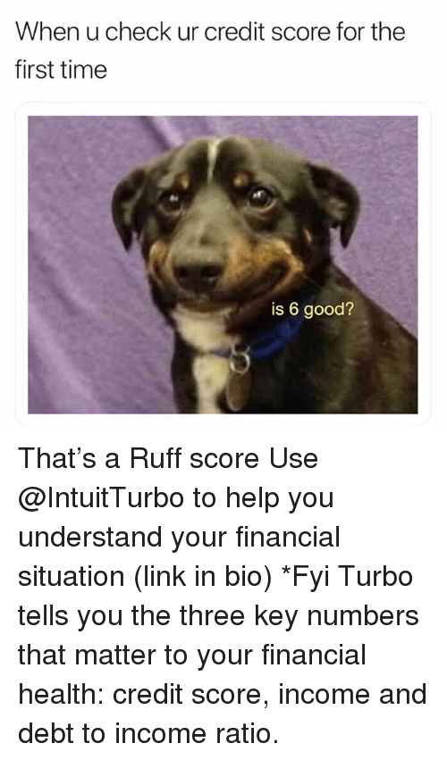 Credit Score, Good, and Help: When u check ur credit score for the  first time  is 6 good? That's a Ruff score Use @IntuitTurbo to help you understand your financial situation (link in bio) *Fyi Turbo tells you the three key numbers that matter to your financial health: credit score, income and debt to income ratio.