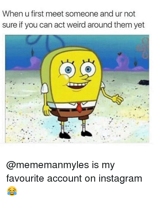Instagram, Memes, and Weird: When u first meet someone and ur not  sure if vou can act weird around them vet @mememanmyles is my favourite account on instagram 😂