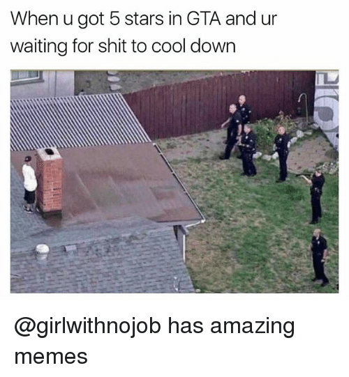 Memes, Shit, and Cool: When u got 5 stars in GTA and ur  waiting for shit to cool down @girlwithnojob has amazing memes