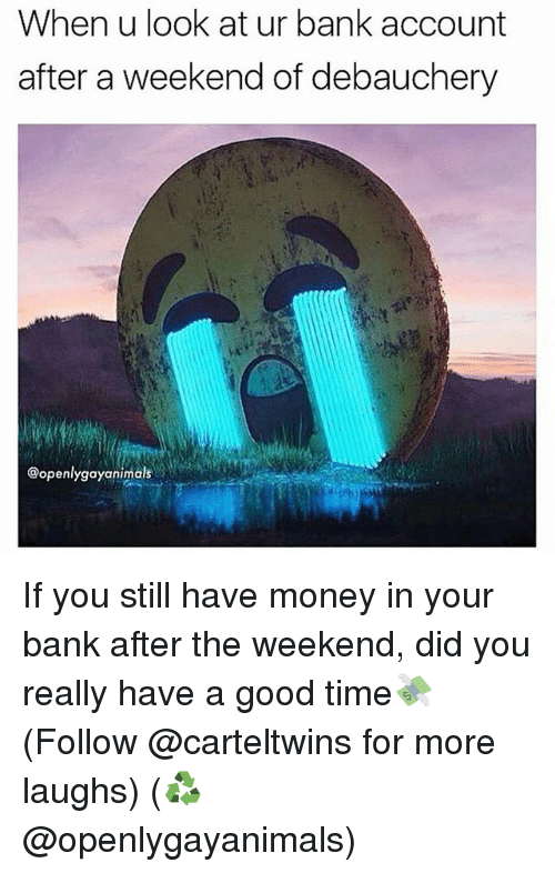 Memes, Money, and Bank: When u look at ur bank account  after a weekend of debauchery  @openlygayanimals If you still have money in your bank after the weekend, did you really have a good time💸 (Follow @carteltwins for more laughs) (♻️ @openlygayanimals)