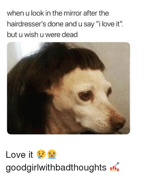 """Love, Memes, and Mirror: when u look in the mirror after the  hairdresser's done and u say """"i love it"""".  but u wish u were dead Love it 😢😭 goodgirlwithbadthoughts 💅🏼"""