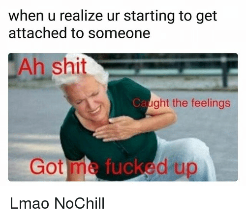 Funny, Lmao, and Shit: when u realize ur starting to get  attached to someone  Ah shit  Ca  ght the feelings  Got me fucked up Lmao NoChill