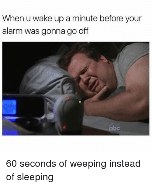 Memes, Alarm, and Sleeping: When u wake up a minute before your  alarm was gonna go off 60 seconds of weeping instead of sleeping