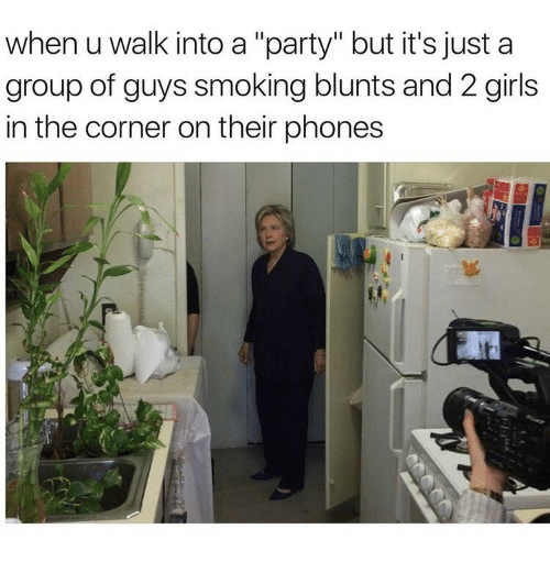 """Blunts, Girls, and Party: when u walk into a """"party"""" but it's just a  group of guys smoking blunts and 2 girls  in the corner on their phones"""