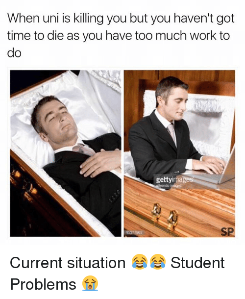 Too Much, Work, and Time: When uni is killing you but you haven't got  time to die as you have too much work to  gettyimages  SP Current situation 😂😂  Student Problems 😭