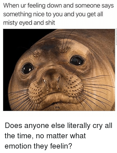 Shit, Time, and Relatable: When ur feeling down and someone says  something nice to you and you get all  misty eyed and shit Does anyone else literally cry all the time, no matter what emotion they feelin?