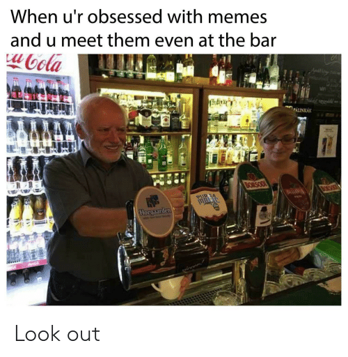 Memes, Bar, and Mø: When u'r obsessed with memes  and u meet them even at the bar  oola  PALINKAK  MA  BORSODI  BORSO  PURGA  Hocgaarden Look out