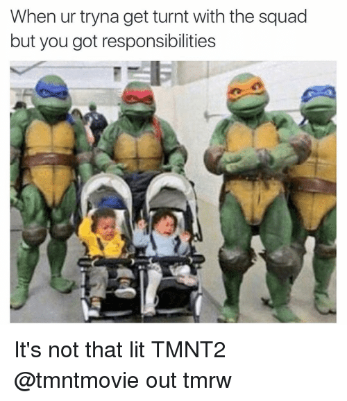 Funny, Lit, and Squad: When ur tryna get turnt with the squad  but you got responsibilities It's not that lit TMNT2 @tmntmovie out tmrw