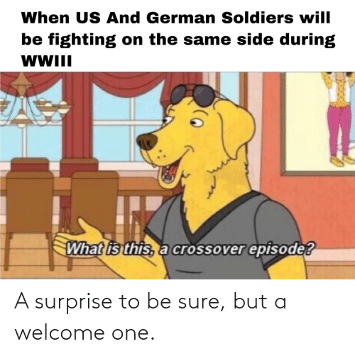 Soldiers, What Is, and Wwii: When US And German Soldiers will  be fighting on the same side during  WWII  What is this, a crossover episode? A surprise to be sure, but a welcome one.