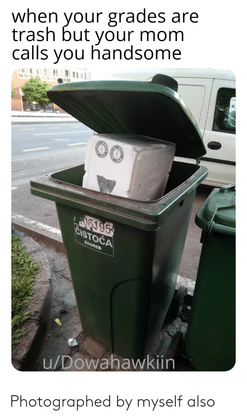 Trash, Mom, and You: when vour grades are  trash but your mom  calls you handsome  u/Dowahawkiin Photographed by myself also