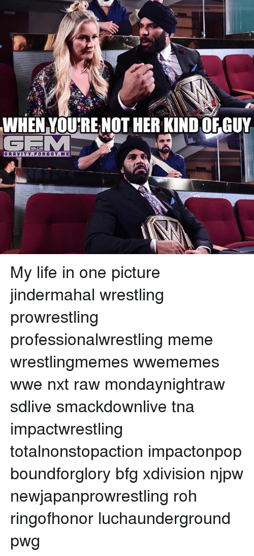 Life, Meme, and Memes: WHEN VOU'RE NOT HER KIND OFGUY  GEM  GRAVITY.FORGOT. ME My life in one picture jindermahal wrestling prowrestling professionalwrestling meme wrestlingmemes wwememes wwe nxt raw mondaynightraw sdlive smackdownlive tna impactwrestling totalnonstopaction impactonpop boundforglory bfg xdivision njpw newjapanprowrestling roh ringofhonor luchaunderground pwg