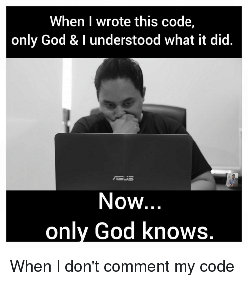 God, Programmer Humor, and Code: When wrote this code,  only God & l understood what it did  Now  only God knows.