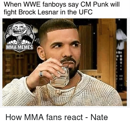 Meme, Memes, and Ufc: When WWE fanboys say CM Punk will  fight Brock Lesnar in the UFC  MMA MEMES How MMA fans react - Nate