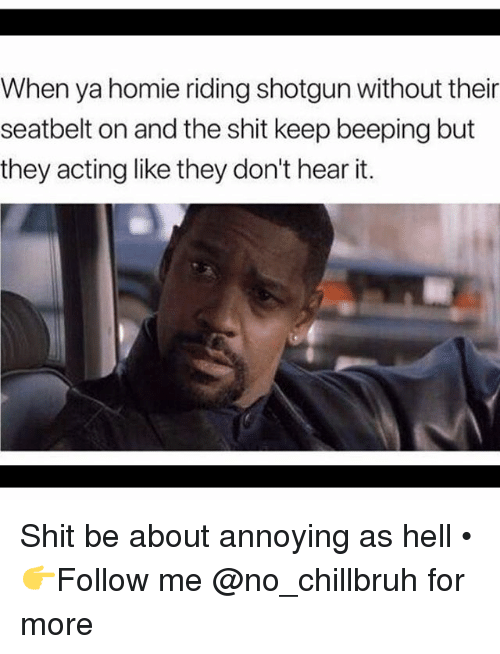 Funny, Homie, and Shit: When ya homie riding shotgun without their  seatbelt on and the shit keep beeping but  they acting like they don't hear it. Shit be about annoying as hell • 👉Follow me @no_chillbruh for more