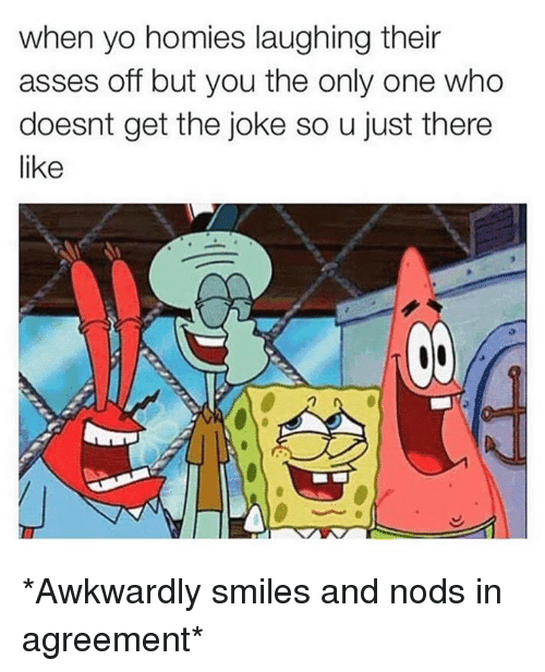 Homie, Memes, and Awkward: when yo homies laughing their  asses off but you the only one who  doesnt get the joke so u just there  like *Awkwardly smiles and nods in agreement*