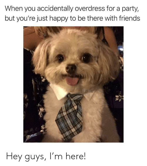 Friends, Party, and Happy: When you accidentally overdress for a party,  but you're just happy to be there with friends Hey guys, I'm here!