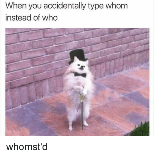 When You Accidentally Type Whom Instead Of Who Whomstd Meme On Meme