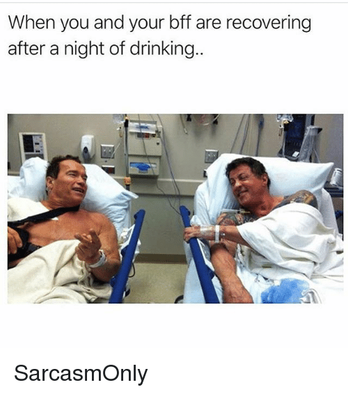 Drinking, Funny, and Memes: When you and your bff are recovering  after a night of drinking SarcasmOnly