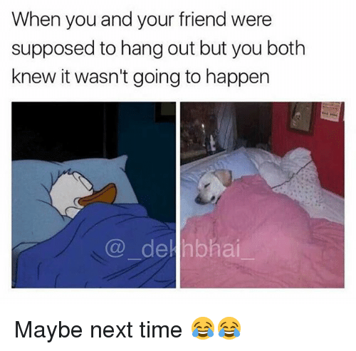 Time, Dekh Bhai, and International: When you and your friend were  supposed to hang out but you both  knew it wasn't going to happern  @_ hai.- Maybe next time 😂😂