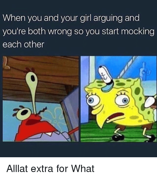 Memes, Girl, and Your Girl: When you and your girl arguing and  you're both wrong so you start mocking  each other Alllat extra for What