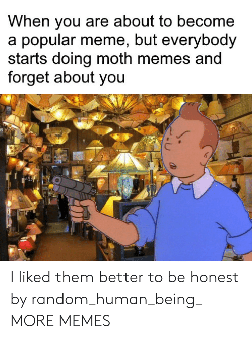 Dank, Meme, and Memes: When you are about to become  a popular meme, but everybody  starts doing moth memes and  forget about you I liked them better to be honest by random_human_being_ MORE MEMES