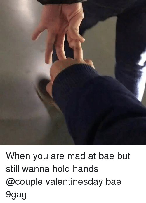9gag, Bae, and Memes: When you are mad at bae but still wanna hold hands⠀ @couple valentinesday bae 9gag