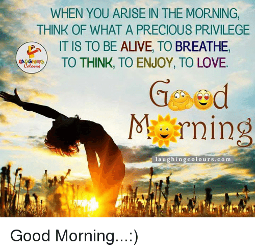 Alive, Love, and Precious: WHEN YOU ARISE IN THE MORNING  THINK OF WHAT A PRECIOUS PRIVILEGE  IT IS TO BE ALIVE, TO  BREATHE  TO THINK, TO ENJOY, TO LOVE.  laughin  colours.com Good Morning...:)