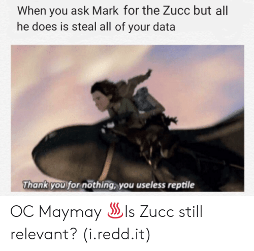 Thank You, Ask, and Data: When you ask Mark for the Zucc but al  he does is steal all of your data  Thank you for nöthing, you useless reptile OC Maymay ♨Is Zucc still relevant? (i.redd.it)