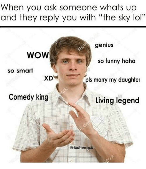 """Funny, Lol, and Memes: When you ask someone whats up  and they reply you with """"the sky lol""""  genius  WOW  so funny haha  so smart  XD  pls marry my daughter  Comedy king  Living legend  IG:badmemeaziz"""