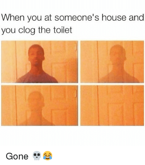 Memes, House, and 🤖: When you at someone's house and  you clog the toilet Gone 💀😂
