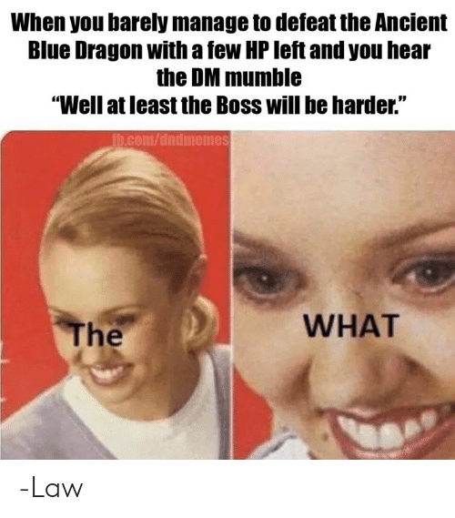 "Blue, DnD, and Ancient: When you barely manage to defeat the Ancient  Blue Dragon with a few HP left and you hear  the DM mumble  ""Well at least the Boss will be harder.""  h.com/dndmemes  WHAT  The -Law"