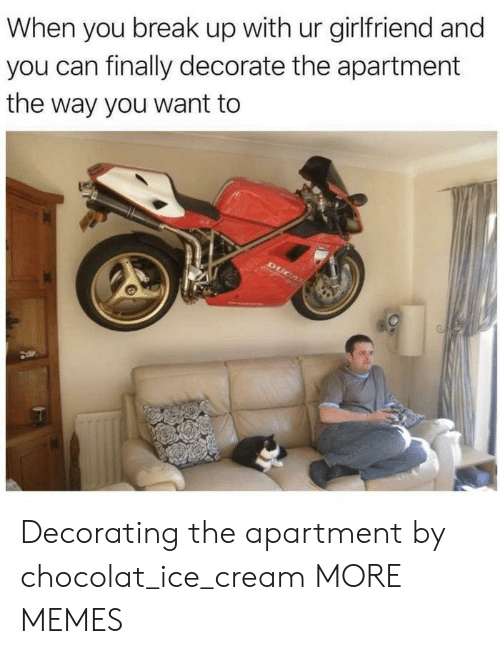Dank, Memes, and Target: When you break up with ur girlfriend and  you can finally decorate the apartment  the way you want to Decorating the apartment by chocolat_ice_cream MORE MEMES