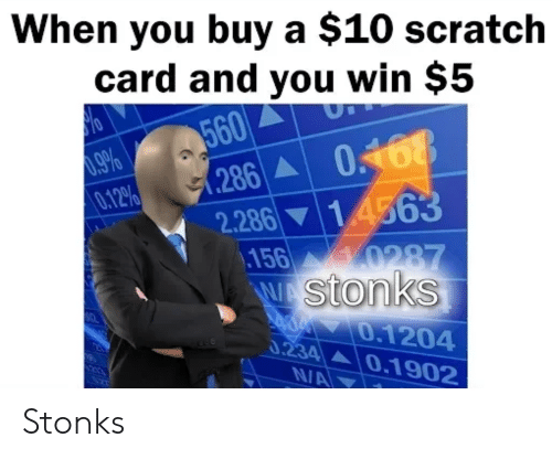 Scratch, You, and Win: When you buy a $10 scratch  card and you win $5  UT  560  (.286  0.9%  0.12%  0168  2.286 14563  \156 0287  w stonks  0 0.1204  0.234 0.1902  NA Stonks