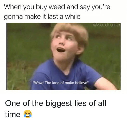 "Weed, Wow, and Marijuana: When you buy weed and say you're  gonna make it last a while  @weedhumo  ""Wow! The land of make believe One of the biggest lies of all time 😂"
