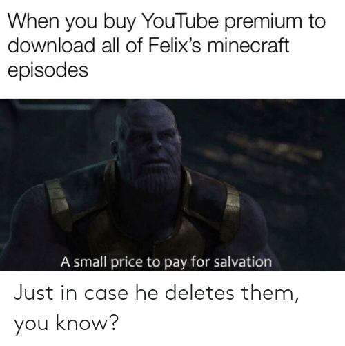 When You Buy YouTube Premium to Download All of Felix's