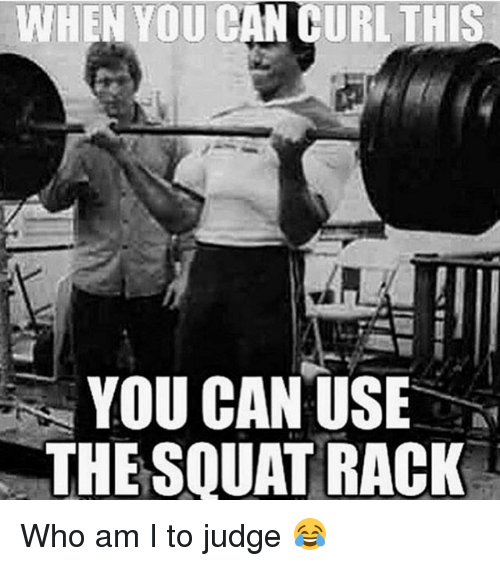 Memes, Who Am I, and Squat: WHEN YOU CAN CURL THIS  YOU CAN USE  THE SQUAT RACK Who am I to judge 😂