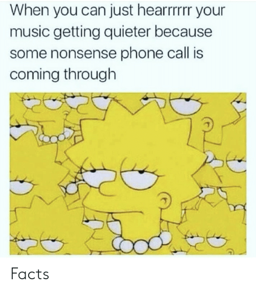 Facts, Music, and Phone: When you can just hearrrrr your  music getting quieter because  some nonsense phone call is  coming through Facts