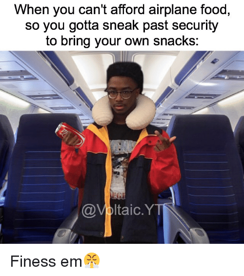 when you cant afford airplane food so you gotta sneak 20380499 ✅ 25 best memes about finess finess memes,Funny Meme Airplane Snack