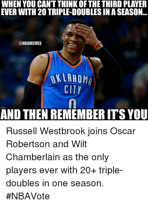 Nba, Wilt Chamberlain, and Player: WHEN YOU CANT THINK OF THE THIRD PLAYER  EVER WITH 20 TRIPLE-DOUBLESINASEASON  @NBAMEMES  OKLAHOM  CITY  AND THEN REMEMBERITS YOU Russell Westbrook joins Oscar Robertson and Wilt Chamberlain as the only players ever with 20+ triple-doubles in one season. #NBAVote