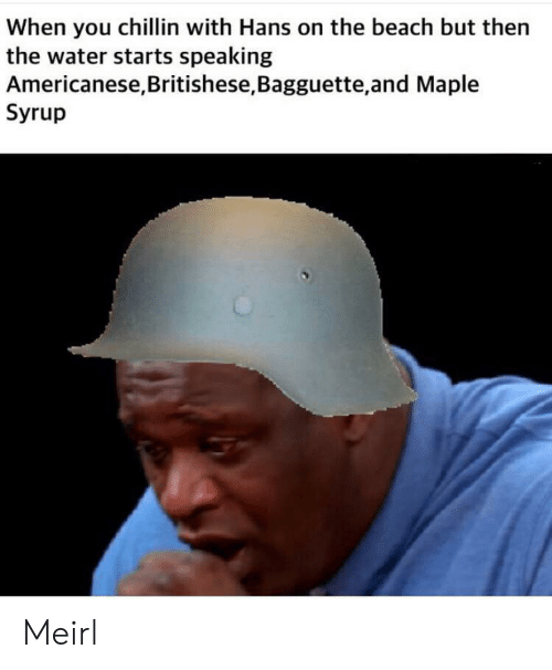 Beach, Water, and Irl: When you chillin with Hans on the beach but then  the water starts speaking  Americanese,Britishese, Bagguette,and Maple  Syrup Meirl