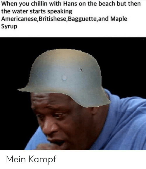 Beach, History, and Water: When you chillin with Hans on the beach but then  the water starts speaking  Americanese,Britishese, Bagguette,and Maple  Syrup Mein Kampf