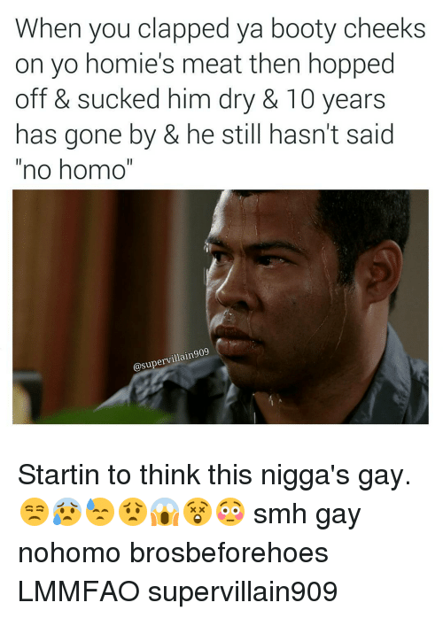 """Booty, Homie, and No Homo: When you clapped ya booty cheeks  on yo homie's meat then hopped  off & Sucked him dry & IU years  has gone by & he still hasn't said  """"no homo""""  asupervillain909 Startin to think this nigga's gay. 😒😰😓😟😱😲😳 smh gay nohomo brosbeforehoes LMMFAO supervillain909"""