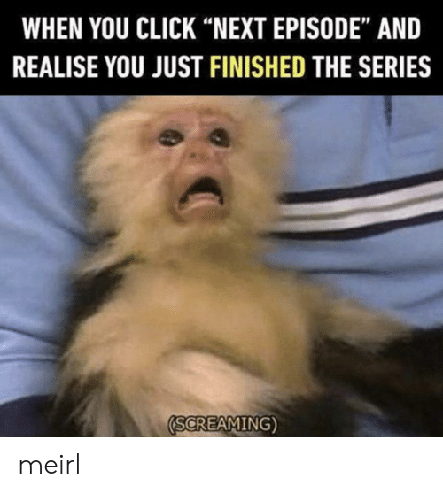 "Click, MeIRL, and Next: WHEN YOU CLICK ""NEXT EPISODE"" AND  REALISE YOU JUST FINISHED THE SERIES  SCREAMING) meirl"
