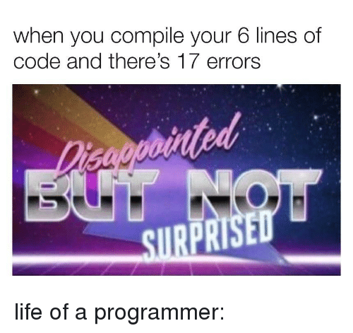 Life, Code, and You: when you compile your 6 lines of  code and there's 17 errors  tod  SIRE  PR life of a programmer:
