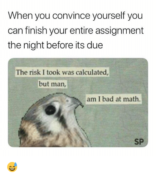 Bad, Math, and Can: When you convince yourself you  can finish your entire assignment  the night before its due  The risk I took was calculated  but man,  am I bad at math.  SP 😅