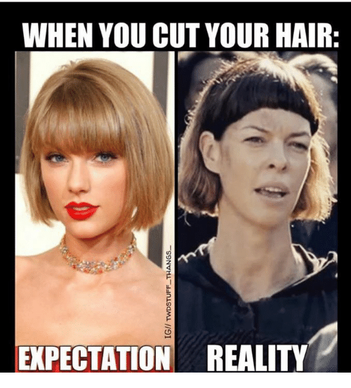When You Cut Your Hair Expectation Reality Meme On Me Me
